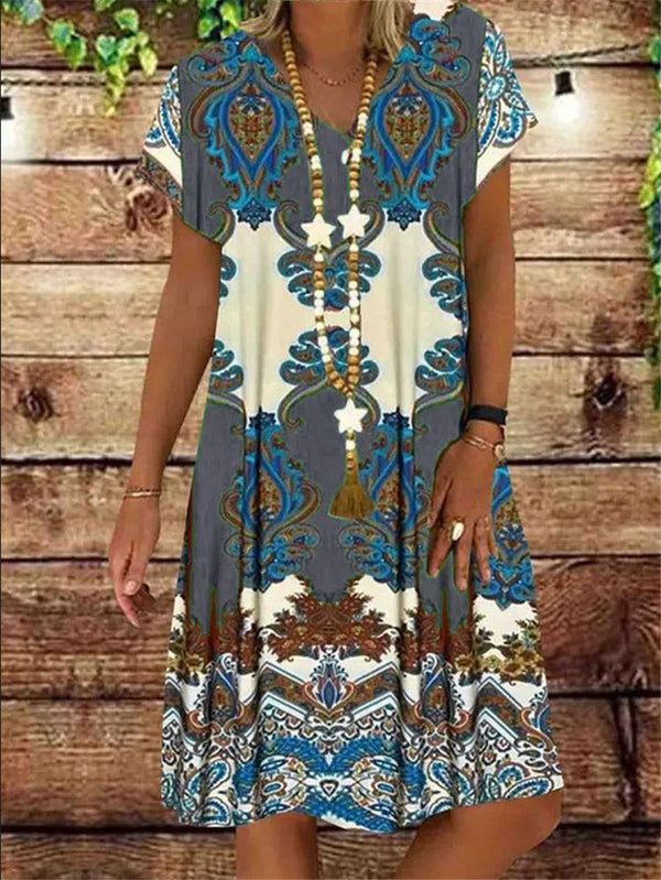 Women's Print Short-sleeved V-neck Midi-length Dress
