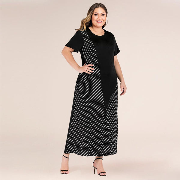 New Oversized Women's Fashion Striped Loose Dress