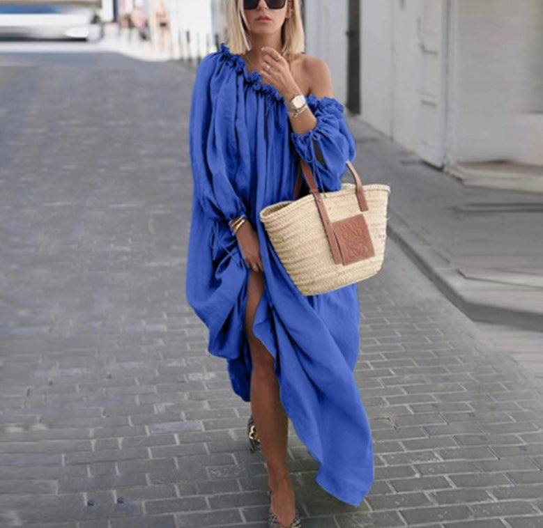 Classy Off-Shoulder Pure Color Long Sleeve Dress