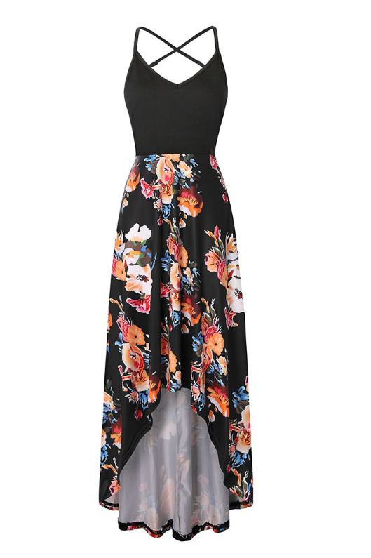 V-neck Strapless Sleeveless Sexy Backless Color block Print Dress