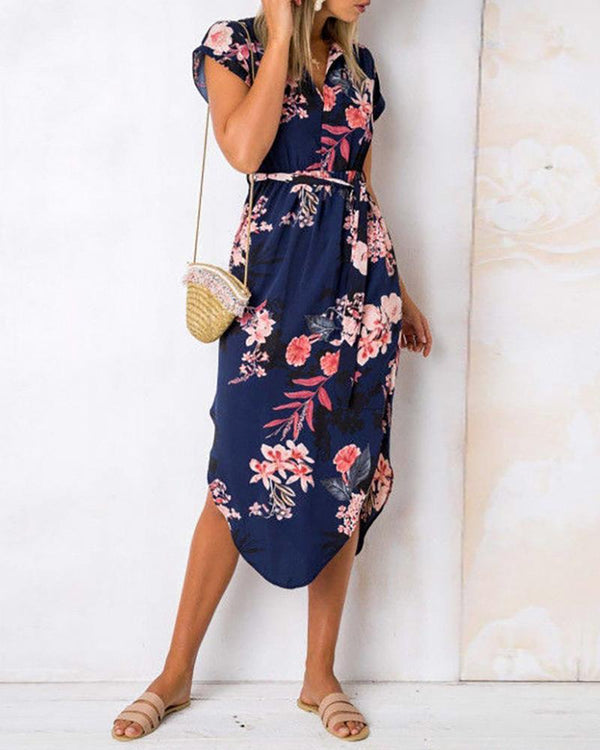 Floral Print Slit Irregular Hem Dress