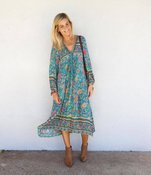 Elegant Boho Long Sleeve Loose Flowing Vacation Midi Dress