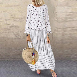 Polka Dot Plus Size Loose Fake Two-piece Cotton And Linen Dress
