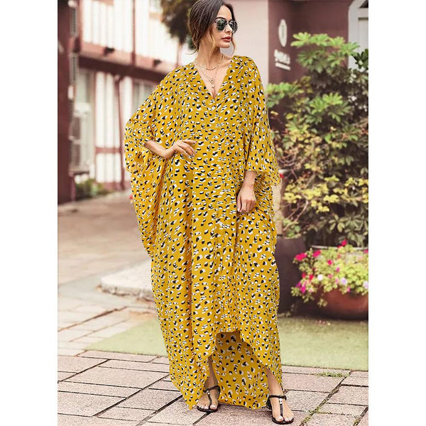 New Women's Summer Loose Wave Point Large Skirt Irregular Dress