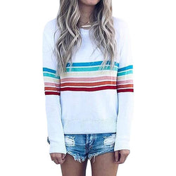 Autumn New Jacket Fashion Rainbow Striped Long-sleeved Sweater