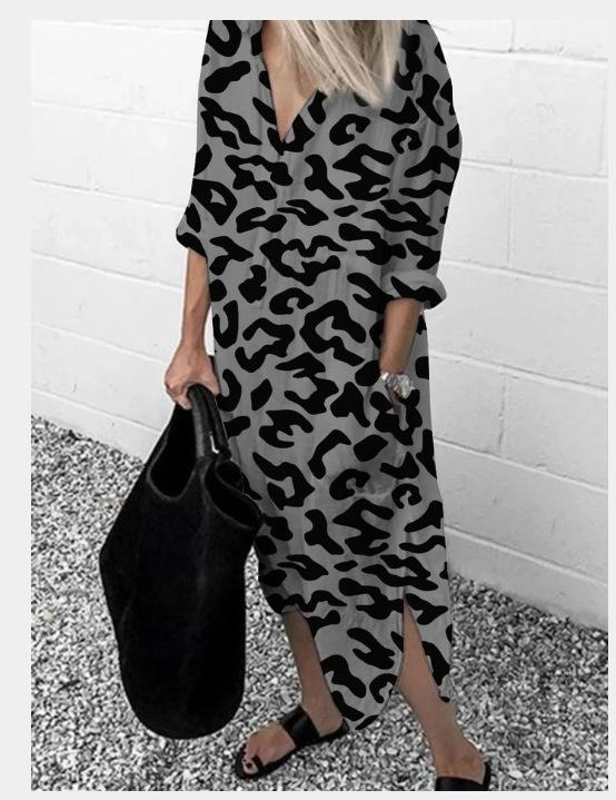 Spring and Autumn Women's New Fast Print Long-sleeved Dress