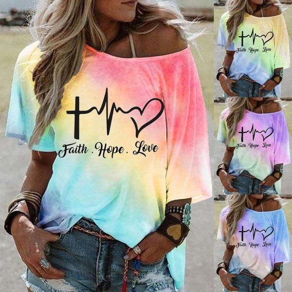 Hot-selling Stylish Tie-dye Gradient Print Short-sleeved Stiletto Off-the-shoulder Top T-shirt
