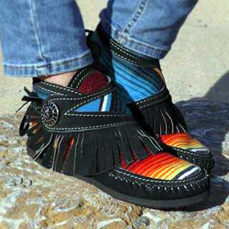 Color Matching Tassels Hook and Loop Martin Boots Plus Size Short Boots Women