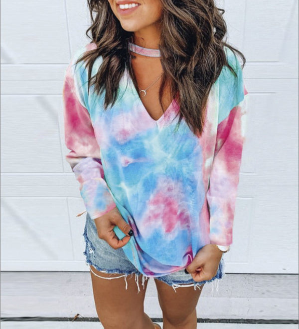 Autumn New Print Tie Dye V-Neck Long Sleeve Oversized T-shirt