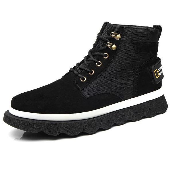 Autumn Martin boots men's new leather trend fashion high-top tooling boots retro British style mid-top men's shoes