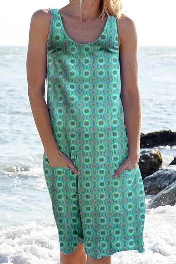 Geometric Print Sleeveless Paneled Pockets Holiday Midi Dress