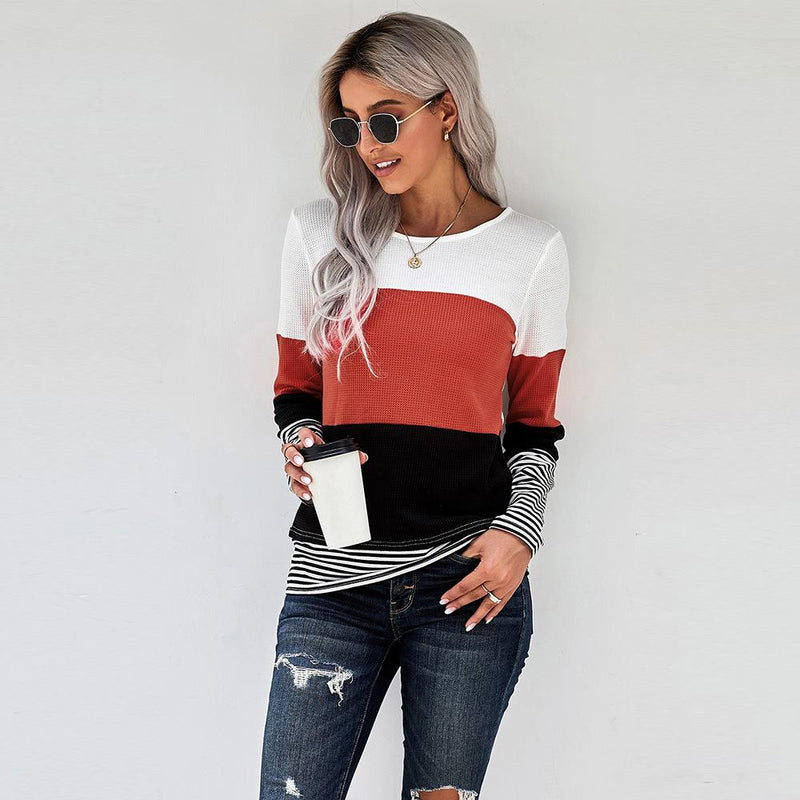 New Pullover Knitted Sweater Splicing Top Women's Fashion T-shirt