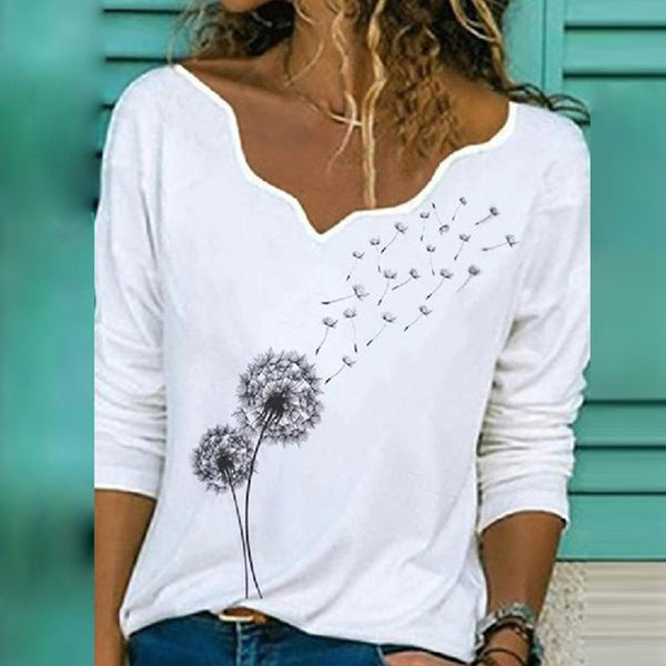 The New Elegant V-neck Long-sleeved Women's T-shirt Trend Casual Print Top