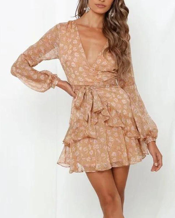 Floral V Neck Tie Waist Dress