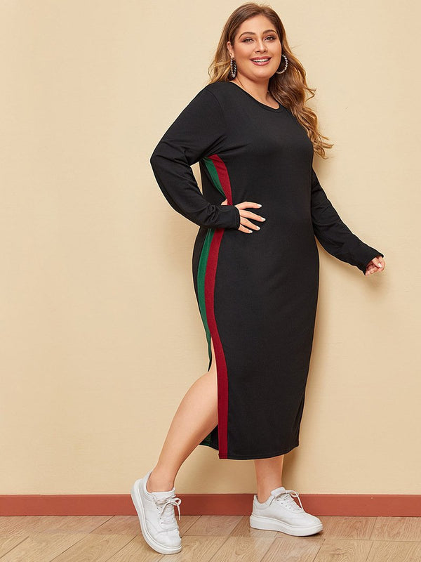 Women's Large-size Ribbon Striped Solid-colored Fork Long-sleeved Dress