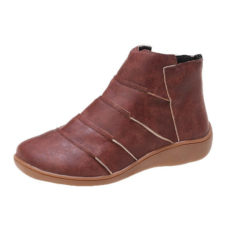 Round head large size fashion boots women's autumn and winter new flat bottomed Roman boots women's Boots