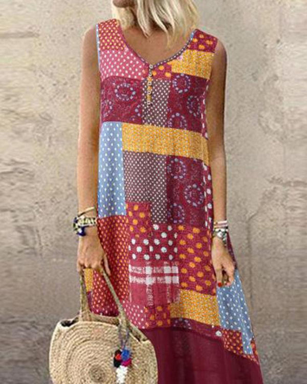 Printed Buttoned V-neck Mid-length Dress