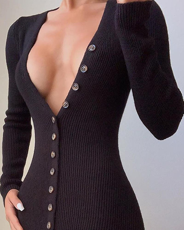 Black Bodycon Button-Up Dress