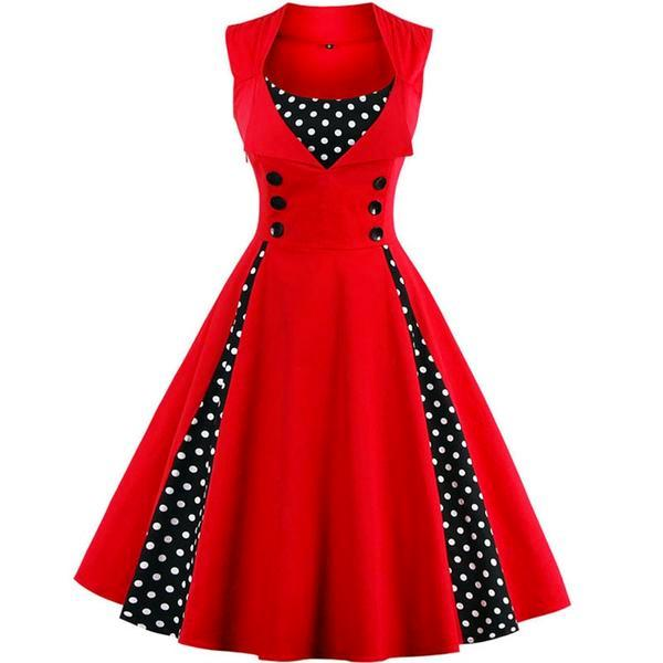 Plus Size Women Robe Retro Vintage Dress Dot Swing Pin Up Summer Party Dresses