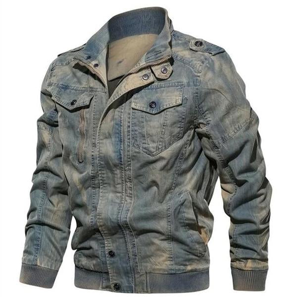 Men Denim Jacket Big Size 6XL Military Tactical Jeans Jacket Solid Casual Air Force Pilot Coat