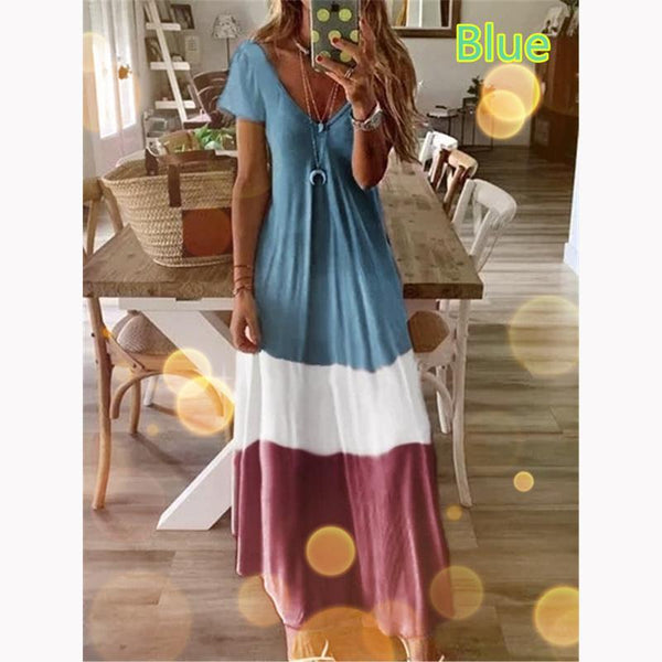 Women's Gradient V-neck Short Sleeve Print Dress Bohemian Loose Long Skirt