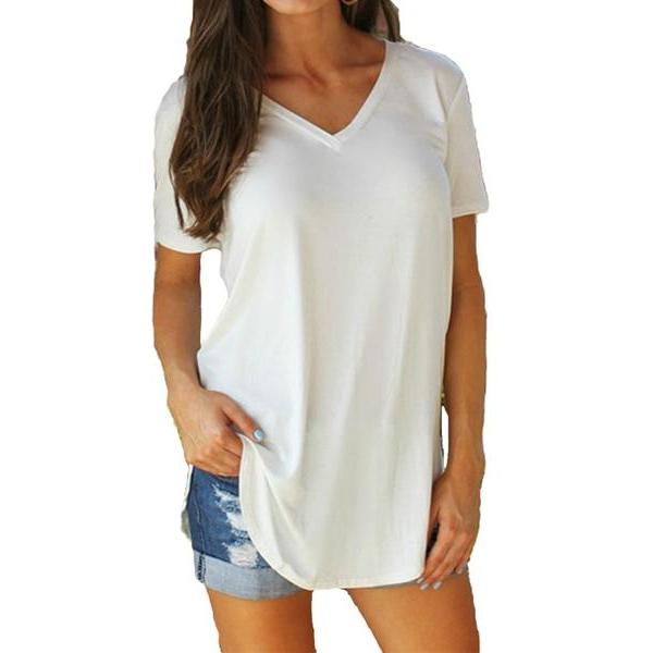 Women's T-shirt Plus Size Tee Basic Shirts Women Solid V Neck Short Sleeve Tops