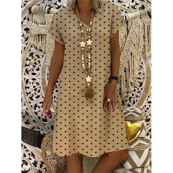 Large size Women's Dress Polka Dot Printed Short Sleeve V-neck Dresses