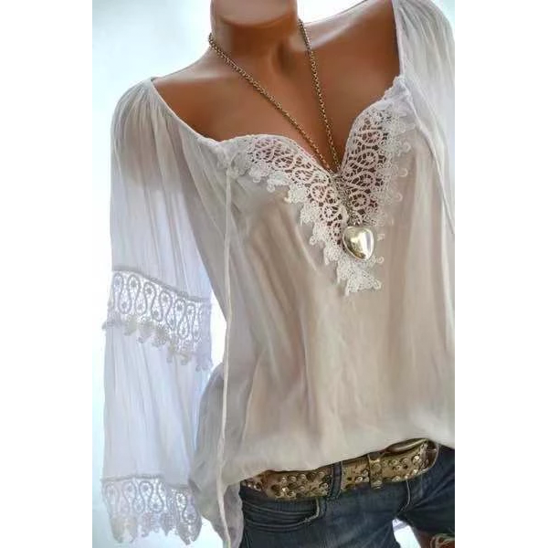 Large size Women Openwork Lace Long-sleeved Blouse Solid Color Large V-neck Casual Tops