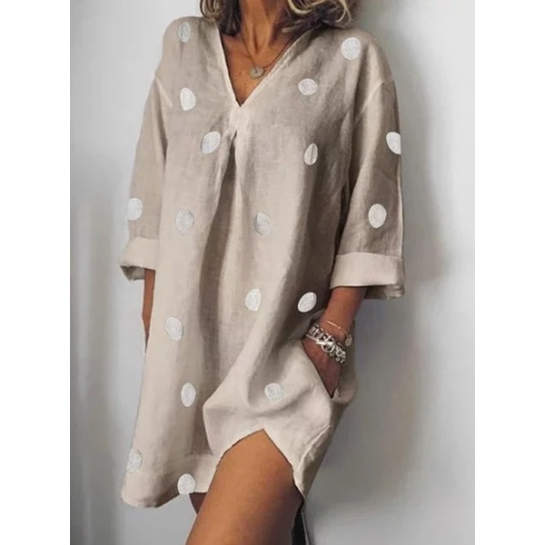 Women's Summer Linen Loose Large Size Dress V-neck Print Nine-point Sleeve Split Dresses