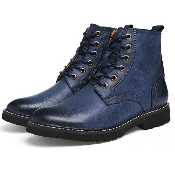 Men Genuine Leather Winter Snow Fashion Boots Pointed Toe Mid-Calf Boots For Men Ankle Non-slip Shoes
