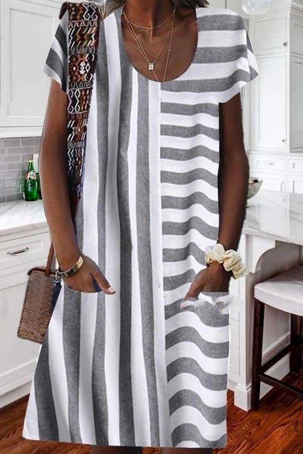Paneled Striped Print Side Pockets Casual Midi Dress