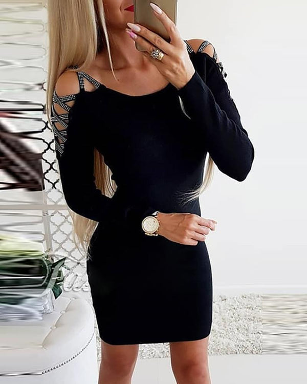 Hot stamping Lace-up Sleeve Bodycon Dress