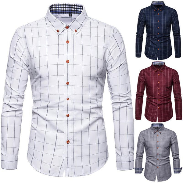 Spring/Autumn Mens Long Sleeve Plaid Cotton Shirts