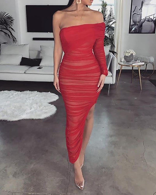 Off Shoulder Pleated Tube Dress