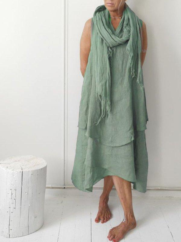 V Neck Linen Plain Casual Casualdress