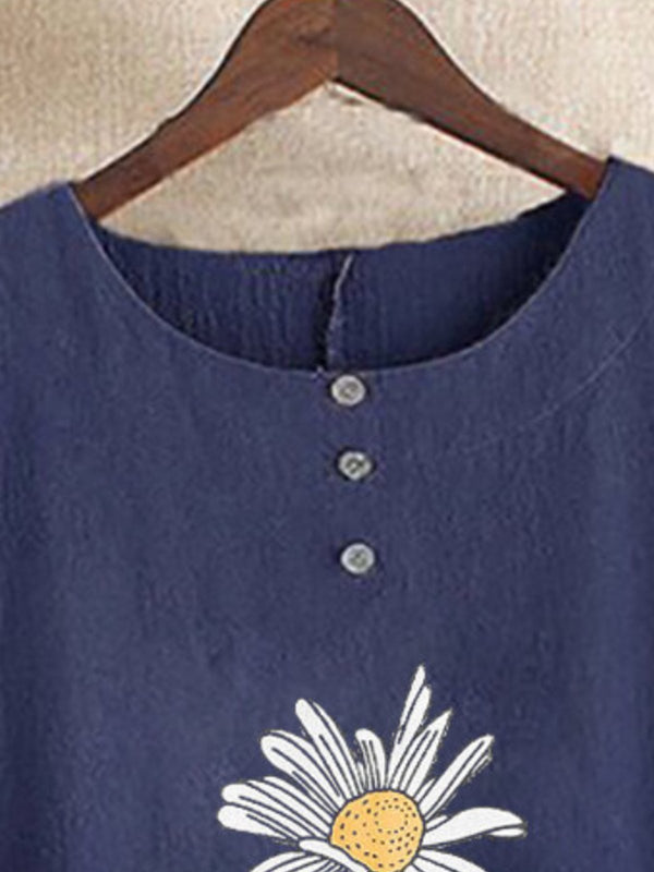 Blue Casual Floral-Print Round Neck Shirts & Tops