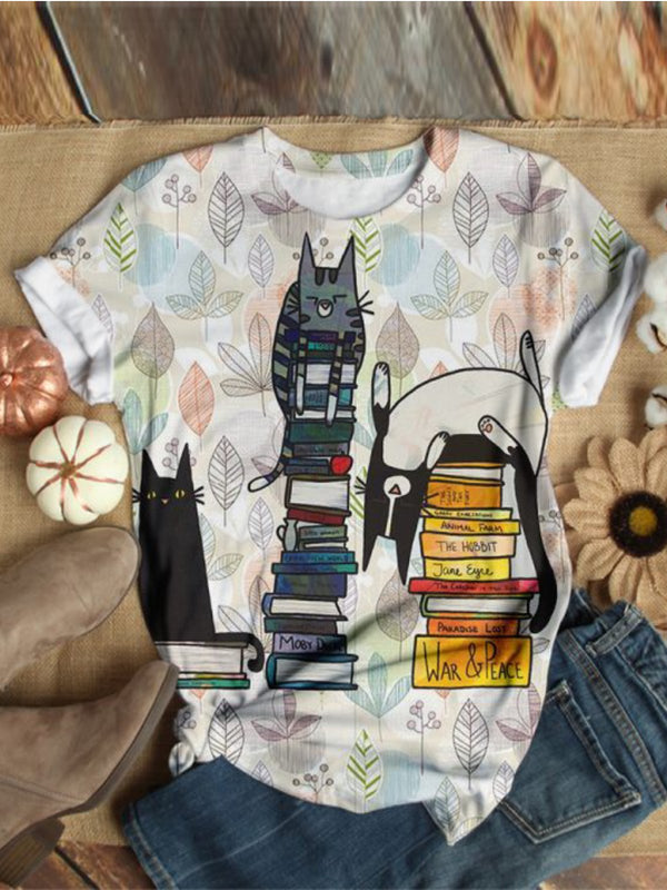 Cat Pattern Short Sleeve Casual Shirts & Tops