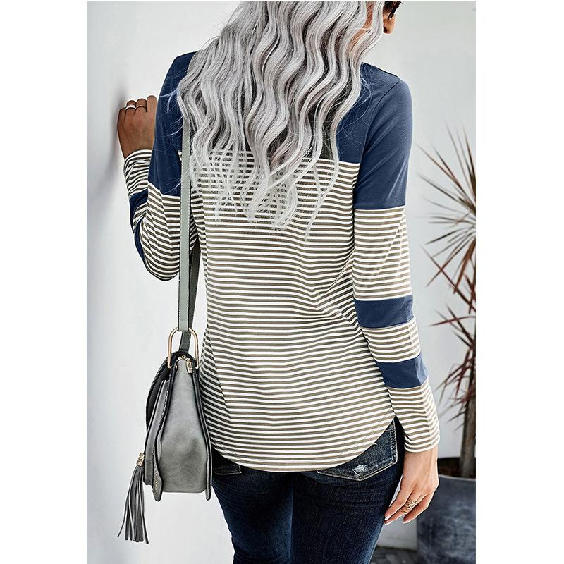 Winter New Women's Striped Long-sleeved Top with A T-shirt
