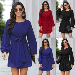 Solid Color Plus Size Loose Simple Dress Belt Temperament Women's Wear