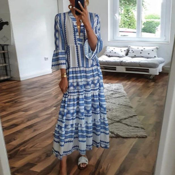 Blue Boho Printed V-Neck 3/4 Sleeve Loose Maxi Dress