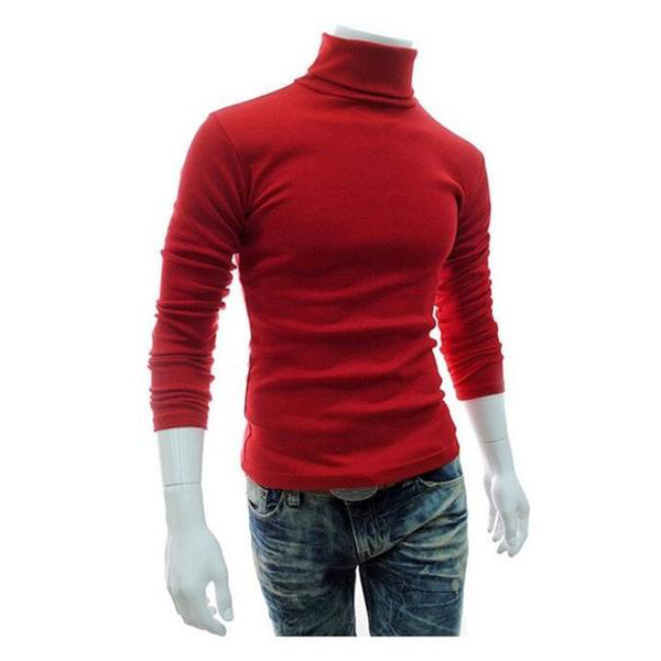 Men'S Turtleneck Solid Color Casual Sweater