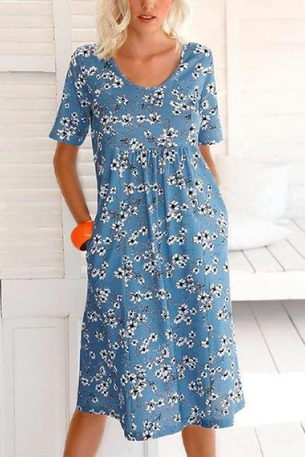Casual Floral Print Paneled Pockets Short Sleeves Midi Dress