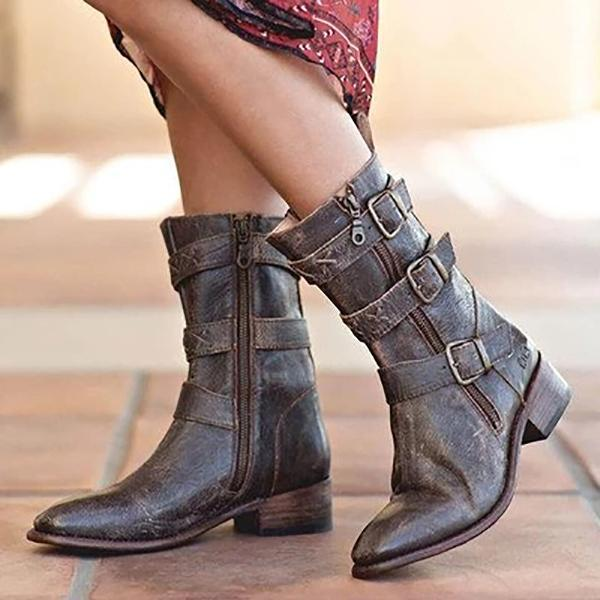 Women's Vintage Zipper Pointed Toe Boots