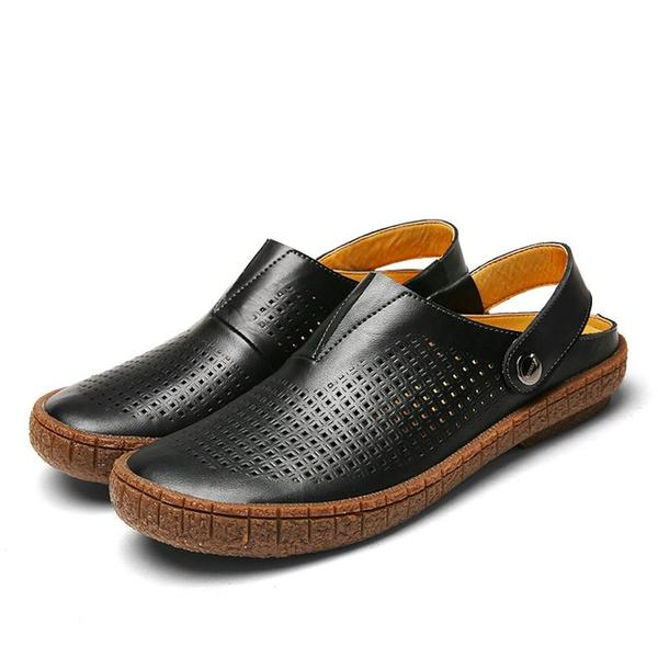 Men PU Split Leather Sandals Beach Breathable Sandal Shoes