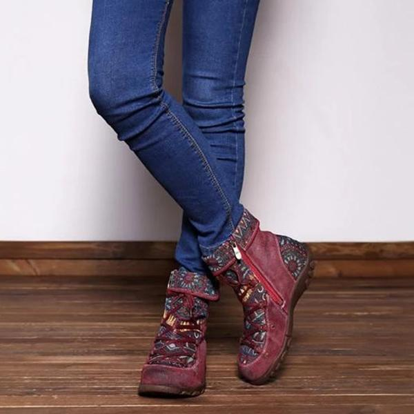 Casual Lace Up Zipper Comfy Flat Boots