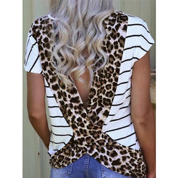Women Tees T-shirt Female Leopard Printed Open Back T-shirt New Stylish Tops tee shirt femme Plus Size