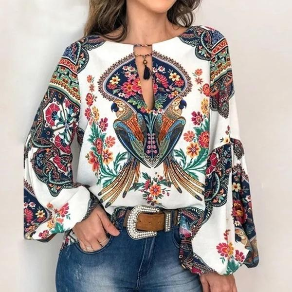 5XL Boho Floral Print Lantern Sleeve Shirt Sexy Lace-up Tassel O Neck Women Tops Blouse