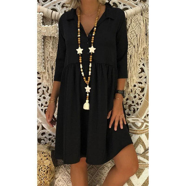 3/4 Sleeve Deep V-neck Loose Casual Solid Color Dress