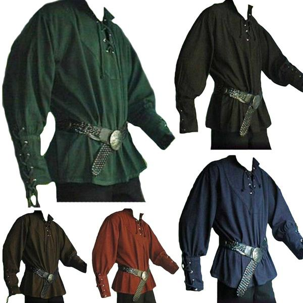 Men Medieval Retro Collar Long Sleeve Shirt