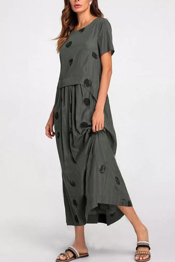 Polka Dots Print Paneled Pleated Casual Midi Dress
